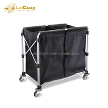 Stainless Steel Frame Foldable Hamper Laundry Carts