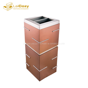 Luxury hotel lobby stainless steel indoor dustbins with ashtray