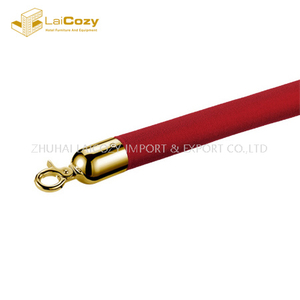 Crowd control red polished hook stanchions barrier rope