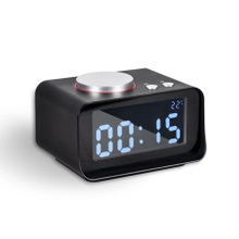 Hotel Room Black Alarm Clock with USB Charging