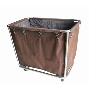 Hotel housekeeping wheeled stainless steel laundry cart