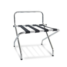 Chrome Finished Luggage Rack with Black Straps for Hotel Room