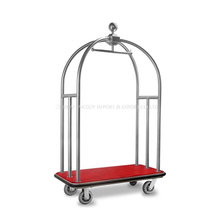 Hotel Lobby lightweight stainless steel bellman luggage cart