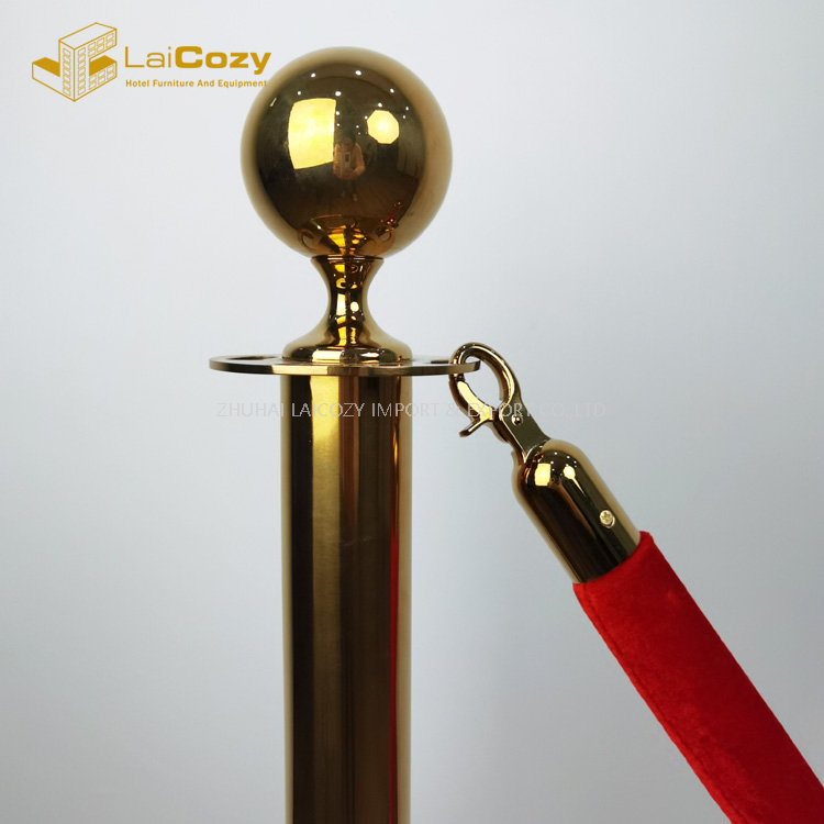 Crowd control golden hook hotel stanchions barrier rope