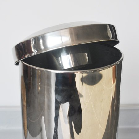 Hotel stainless steel round indoor dustbins with lid