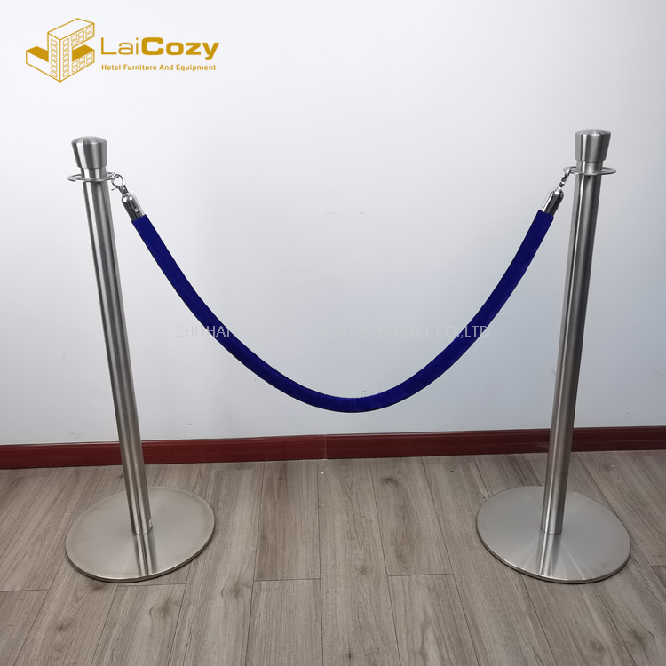 Crowd control blue color stanchions barrier rope