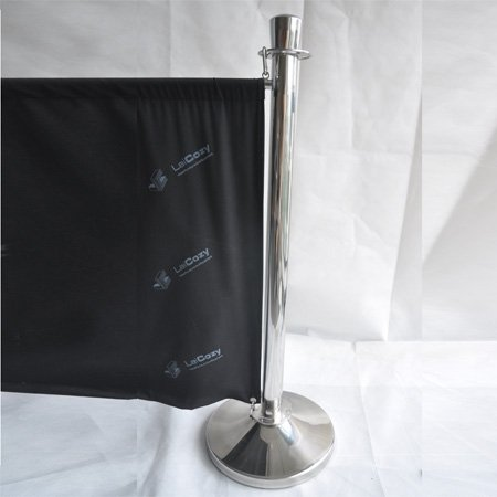 Stainless steel pole fabric stanchion banner for crowd control and advertising
