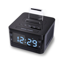 black color alarm clock with radio speaker system for hotel