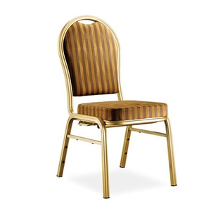 High Quality Hotel Restaurant Stackable Aluminum Banquet Chair Modern Golden Frame Wedding Chars