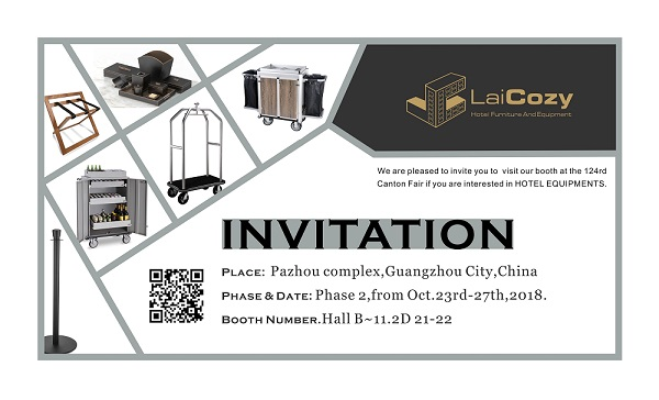 LAICOZY booth NO 11.2D21-22 at the 124th Canton Fair from Oct 23-27