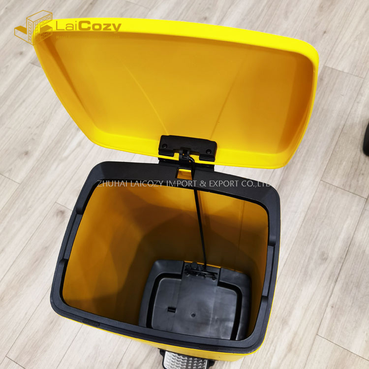 Hospital Used Mask Collection Pedal Indoor Yellow Wastebin