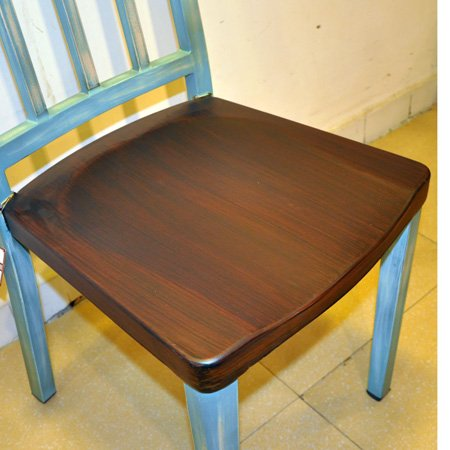 Hotel Restaurant Vintage Wood Seat Dining Steel Chair