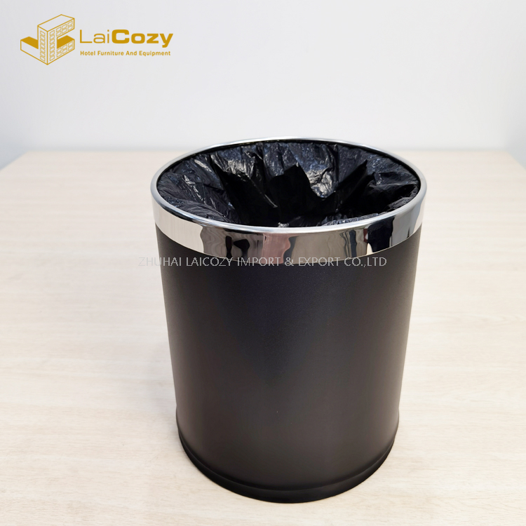 Hotel guestroom double layer stainless steel indoor dustbins