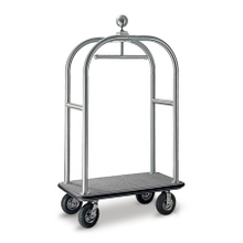 Luxury hotel stainless steel wheeled bellman cart with different color carpet