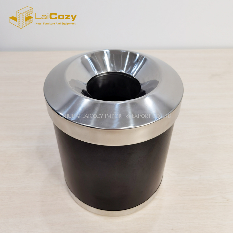 Hotel guestroom fireproof indoor metal dustbin with lid