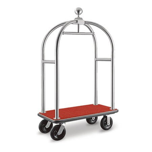 Hotel lobby wheeled 304 stainless steel suitcase bellman cart