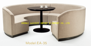 Hotel Restaurant Modern Types of Corner Design C Shaped Round Upholstered Sofa