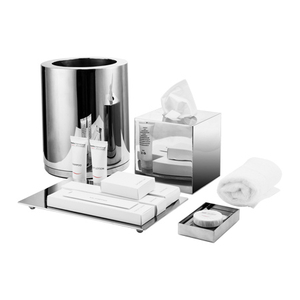 Hotel bathroom set of guestroom accessories shiny look